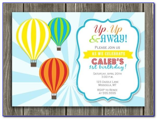 Printable Kids Hot Air Balloon Birthday Invitation Kids Birthday Regarding Hot Air Balloon Birthday Invitations