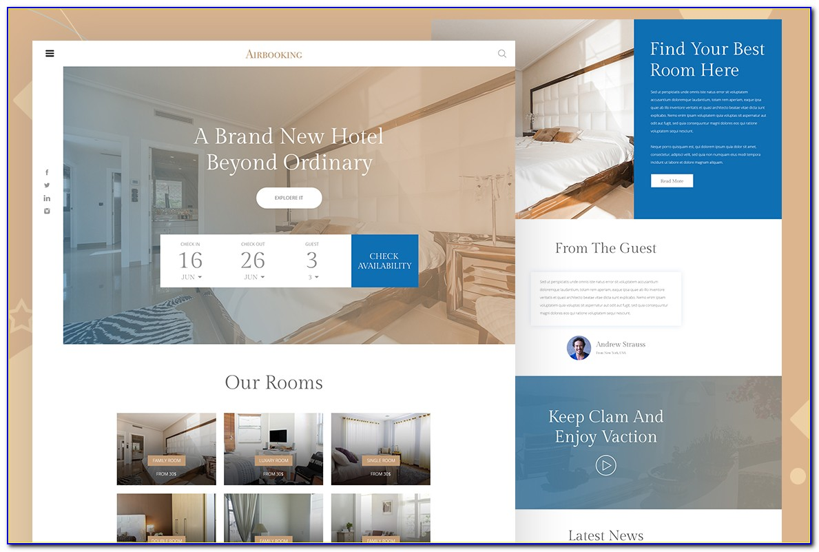 Hotel Reservation Website Template Free