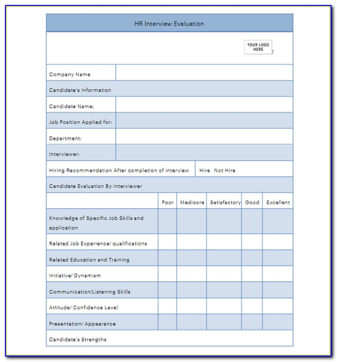 Hourly Performance Appraisal Template Free