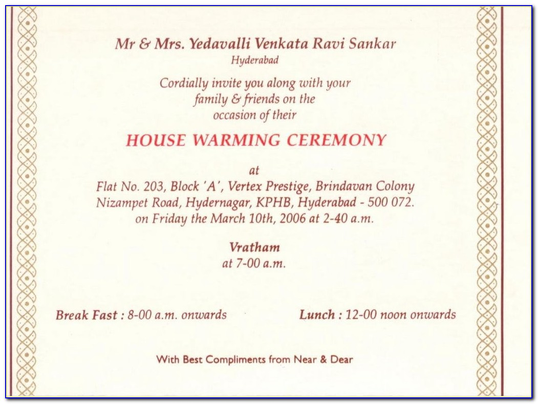House Warming Ceremony Invitation Cards In Kannada