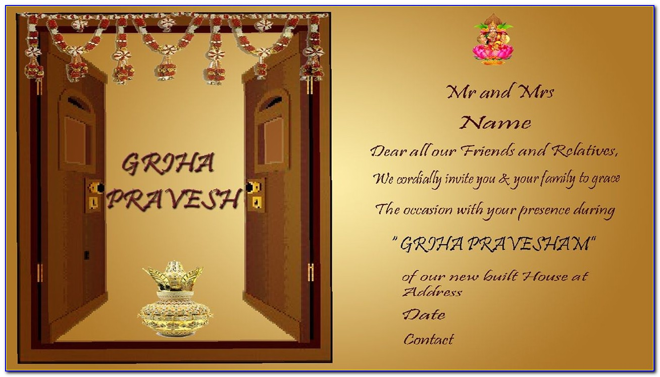 House Warming Ceremony Invitation Cards In Malayalam
