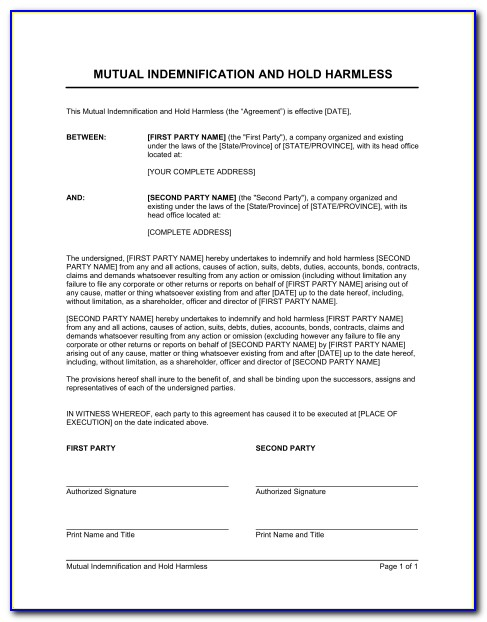 Indemnity Waiver Form Template Uk