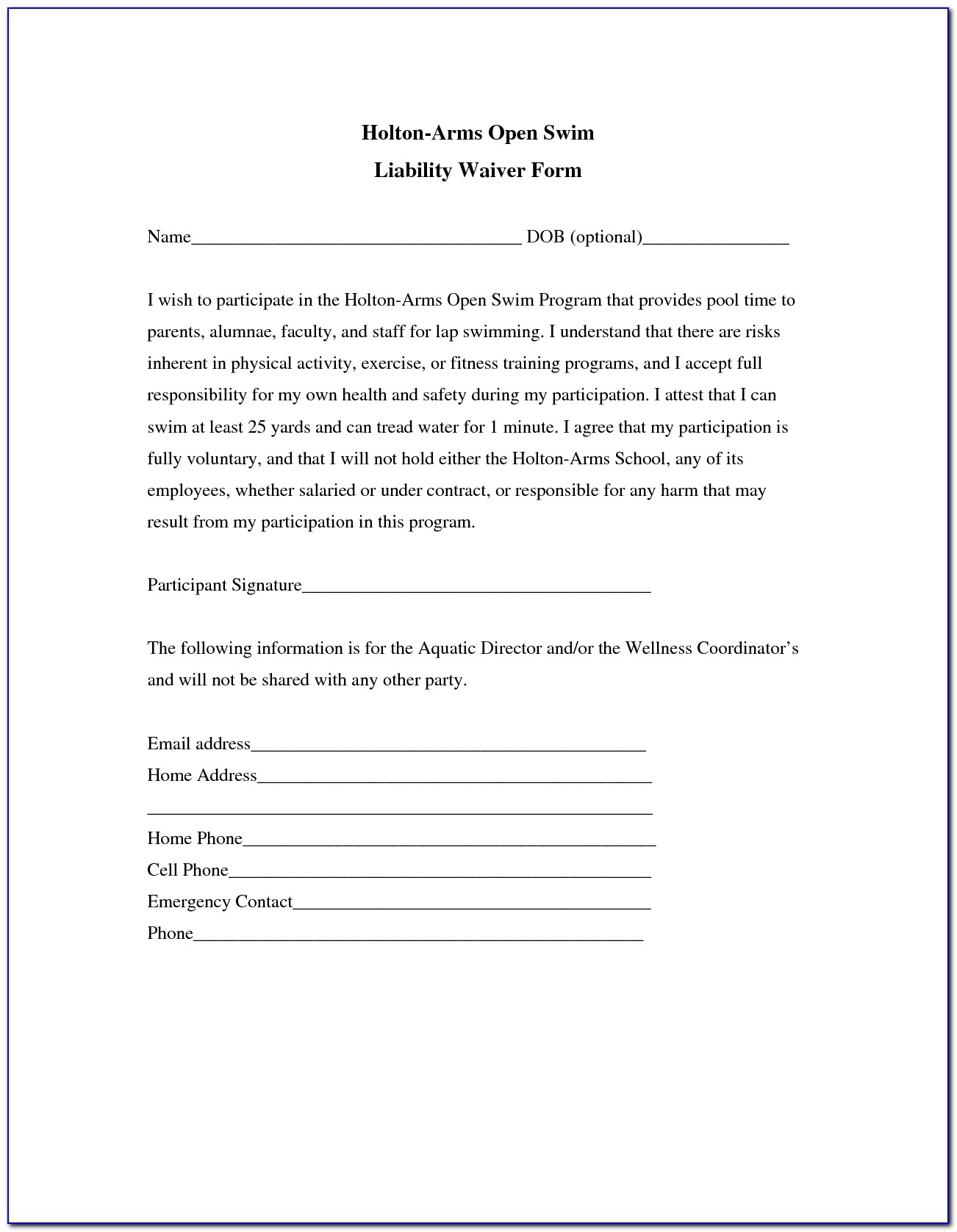 Indemnity Waiver Form Template
