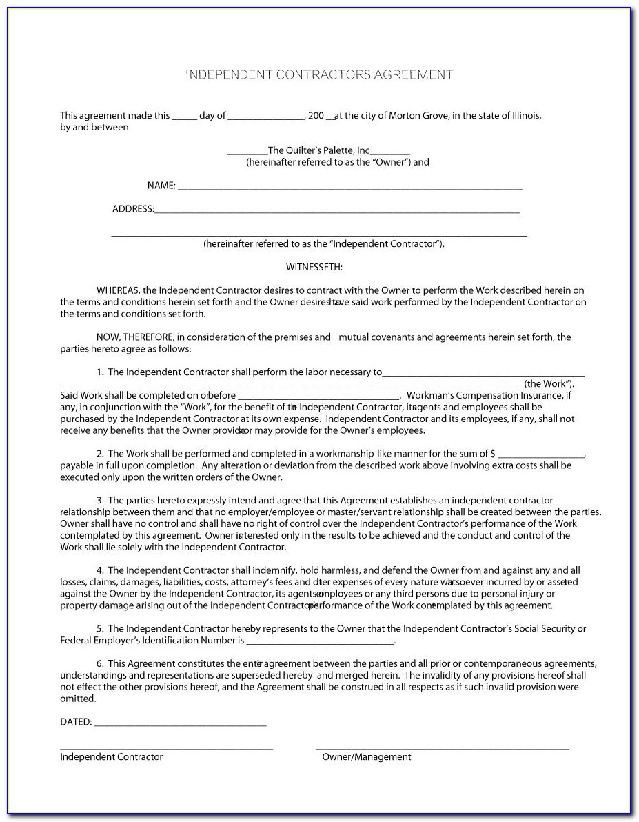 Independent Contractor Agreement Template Nz