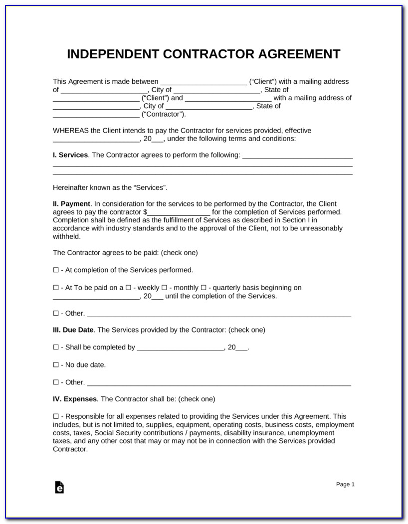 Independent Contractor Services Agreement Template Free