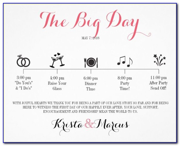 Indian Wedding Reception Itinerary Template