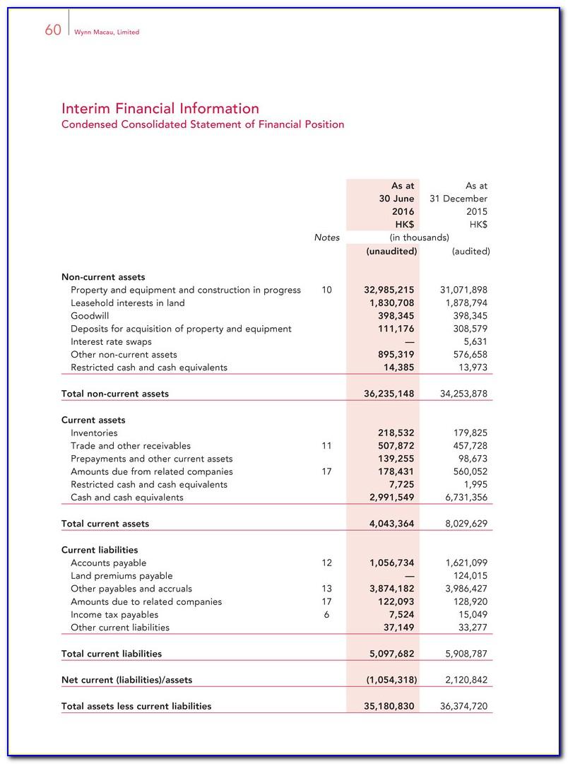 Interim Business Financial Statement Template