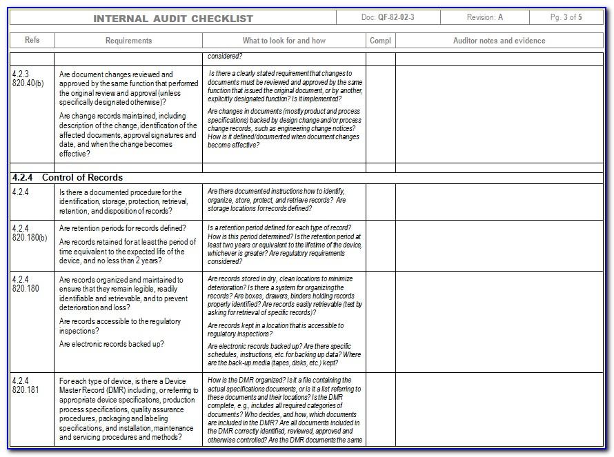 Internal Audit Checklist Template Word