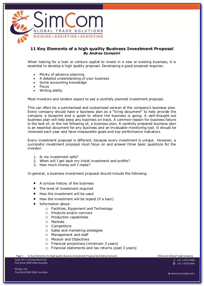 Investment Banking Business Proposal Template