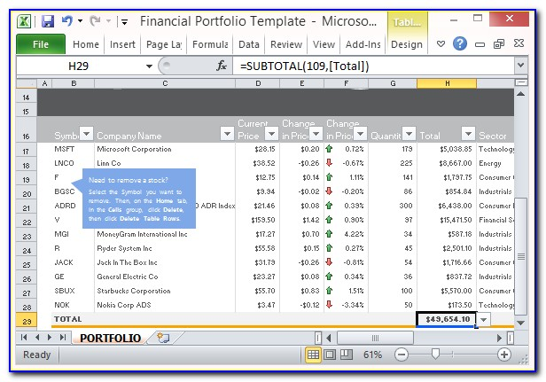 Investment Portfolio Analysis Excel Template