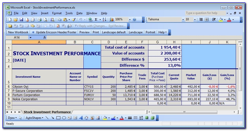 Simple Stock Portfolio Management Excel Guidance Blog Investment Excel Template Investment Excel Template