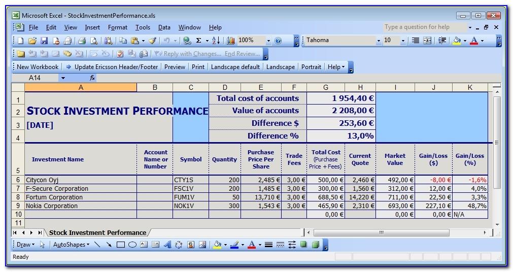 Simple Stock Portfolio Management Excel Guidance Blog Investment Excel Template Investment Excel Template