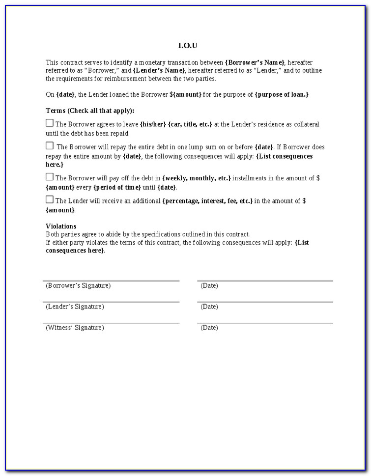 Iou Promissory Note Template