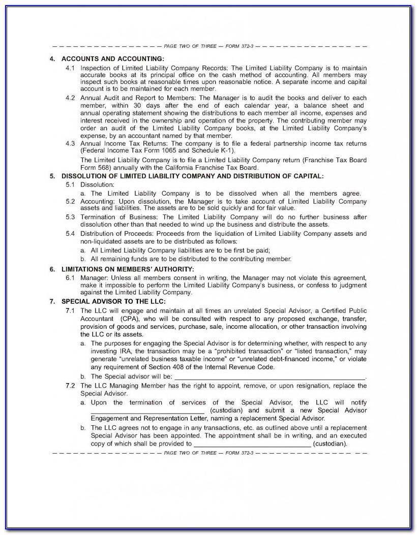 Ira Llc Operating Agreement Ira Llc Operating Agreement Template