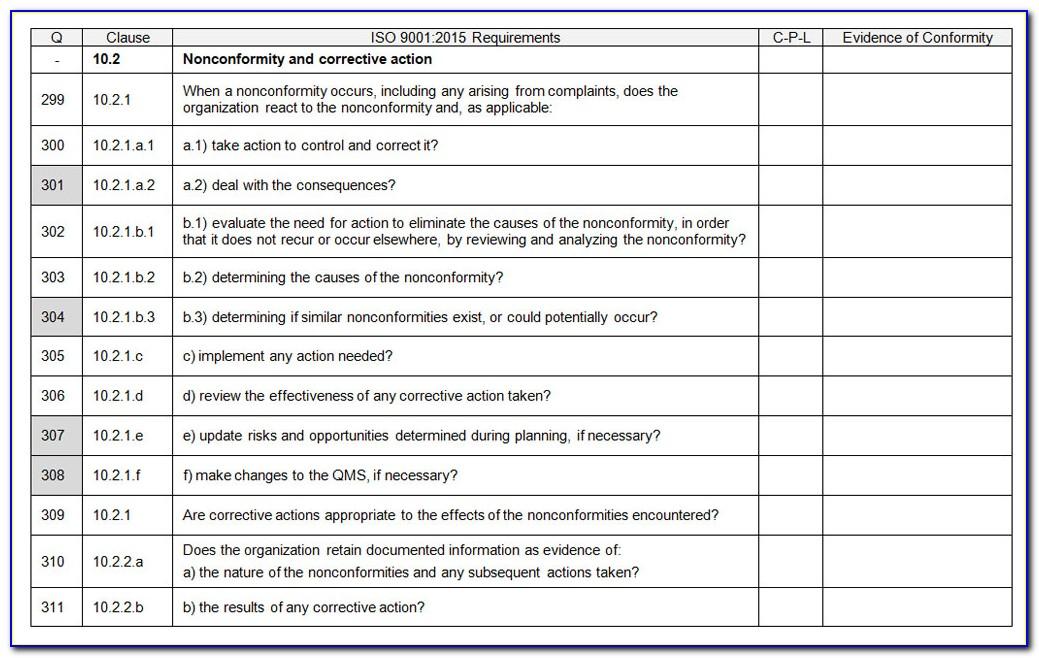 Iso 9001 Gap Analysis Template