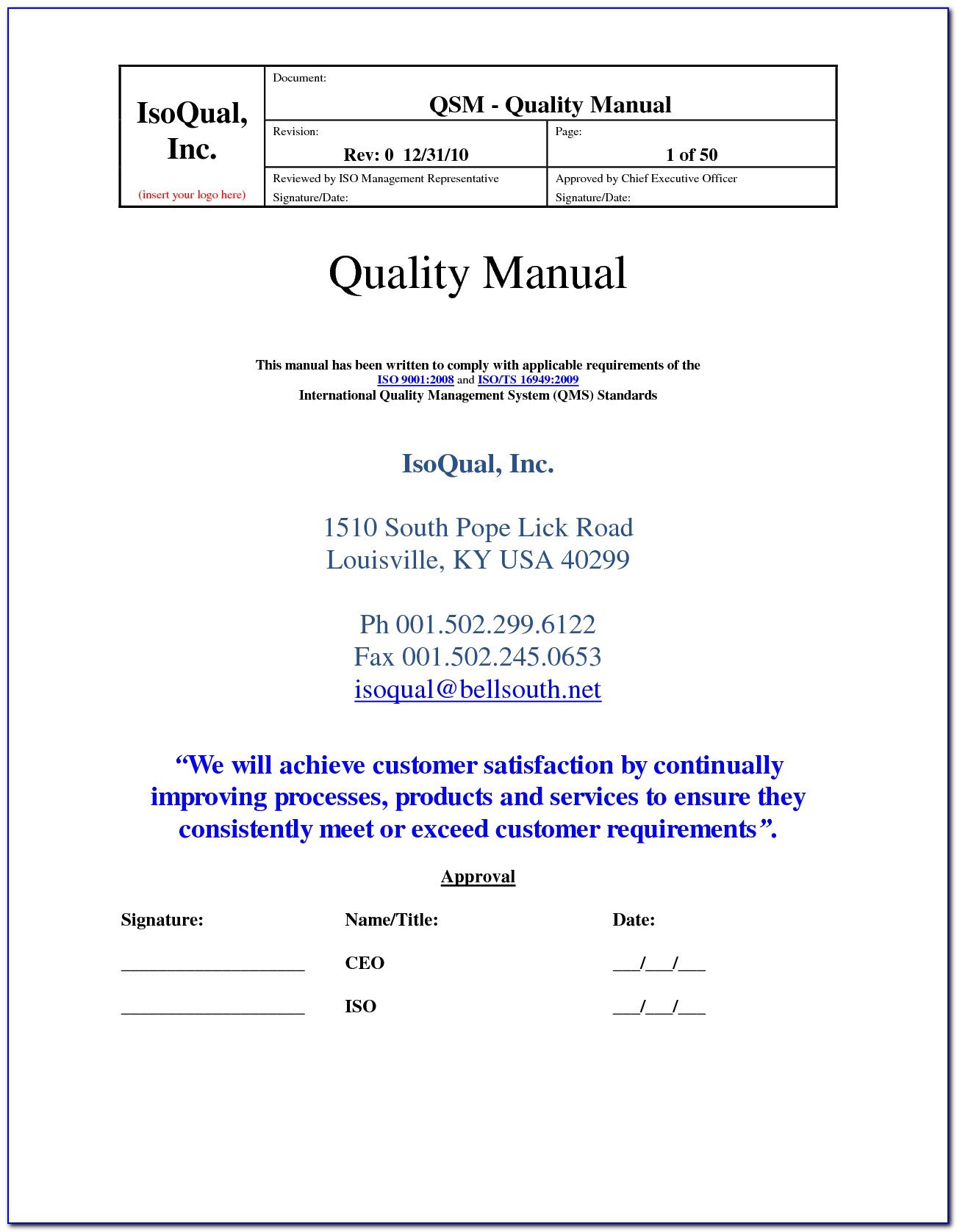 Iso Quality Manual Format