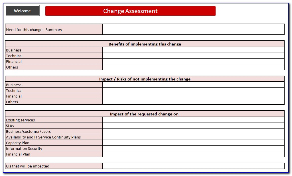 Itil Standard Change Template
