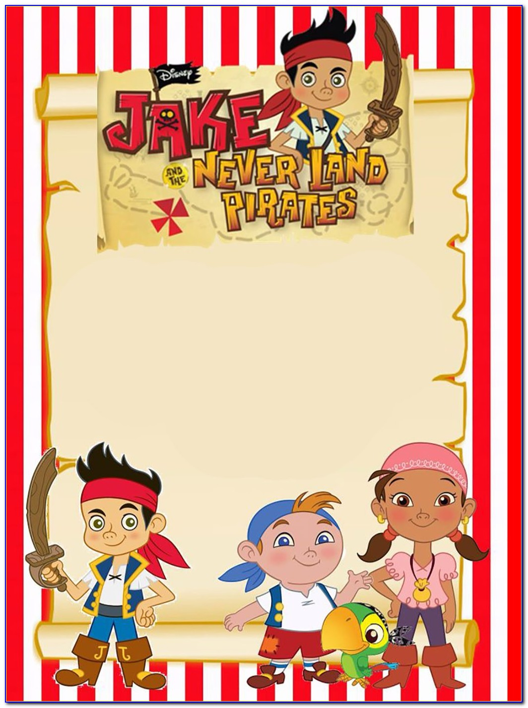 Jake And The Neverland Pirates Invitations Free Template