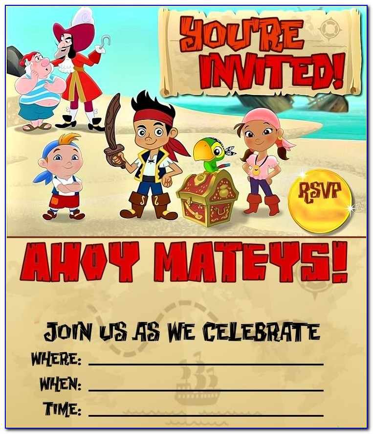 Jake And The Neverland Pirates Invitations Template