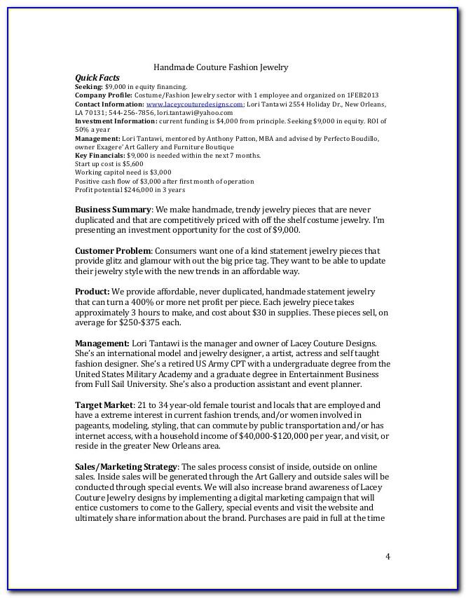 Jewellery Business Plan Format