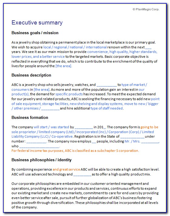 Jewelry Store Business Plan Examples