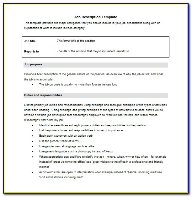 Job Templates Free Download
