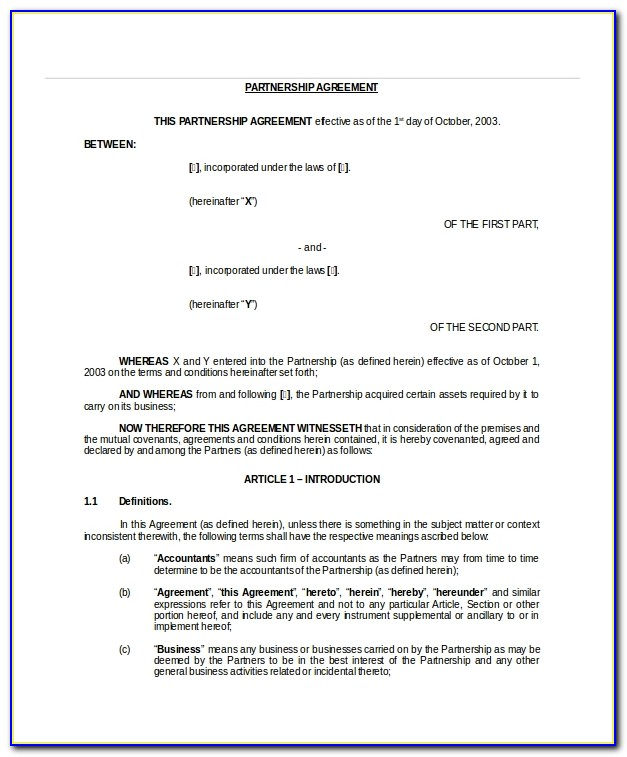 Joint Venture Partnership Agreement Template