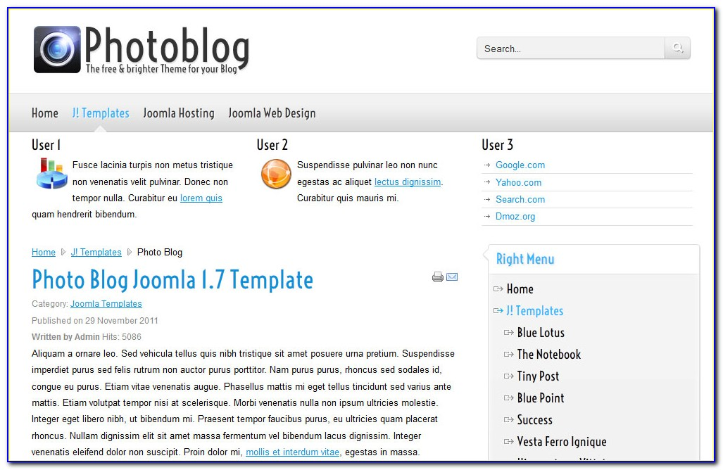 Joomla Templates Photography Portfolio Free