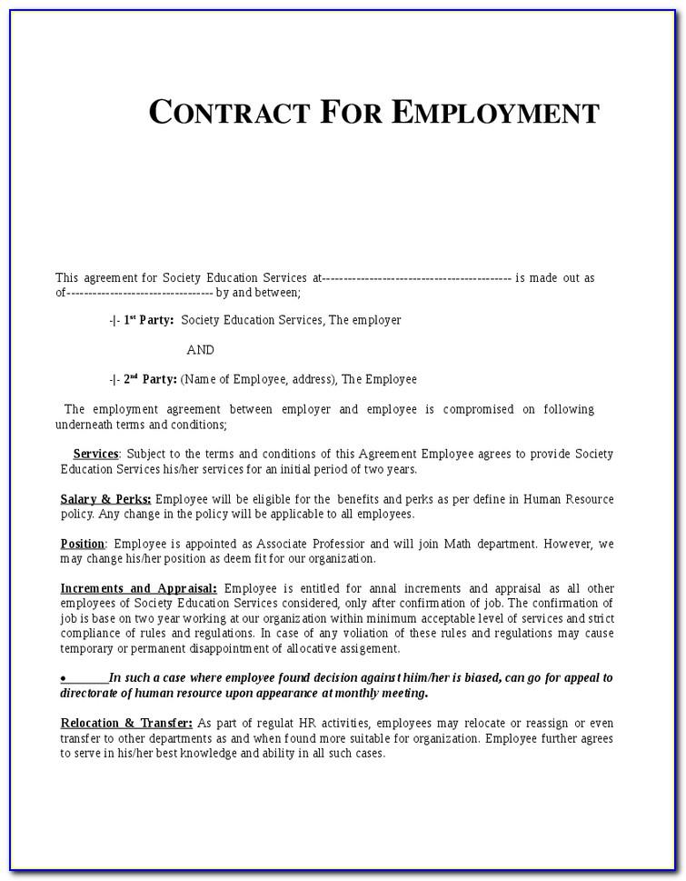 Labour Contract Template Dubai