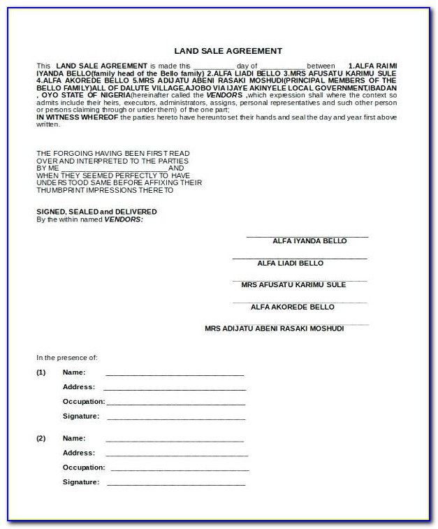 Land Sale Agreement Template In Kenya