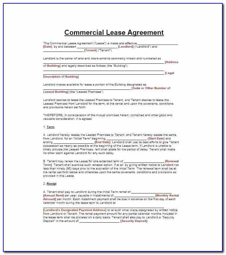 Landlord Tenancy Agreement Template Free