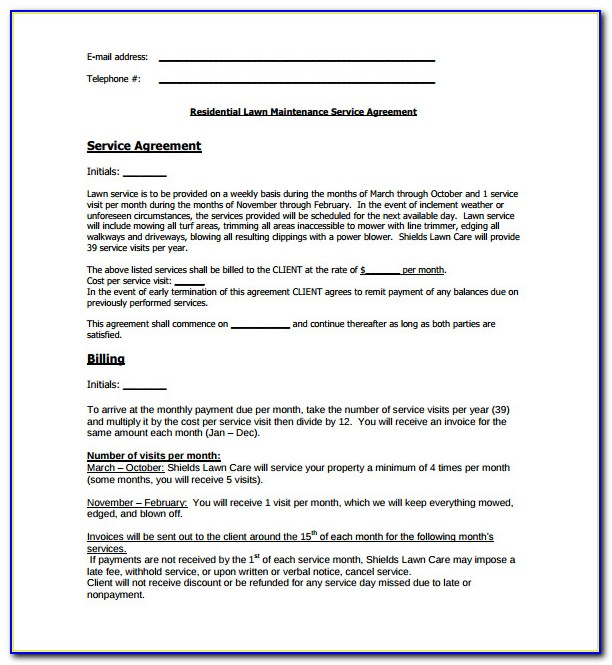 Lawn Care Contract Template Free