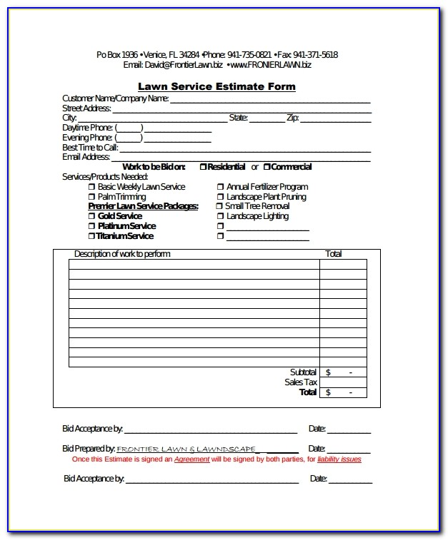 Lawn Care Estimate Template Free