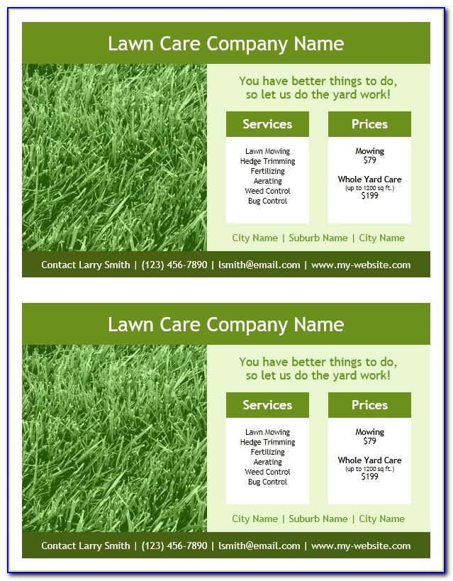 Lawn Service Flyer Template Free