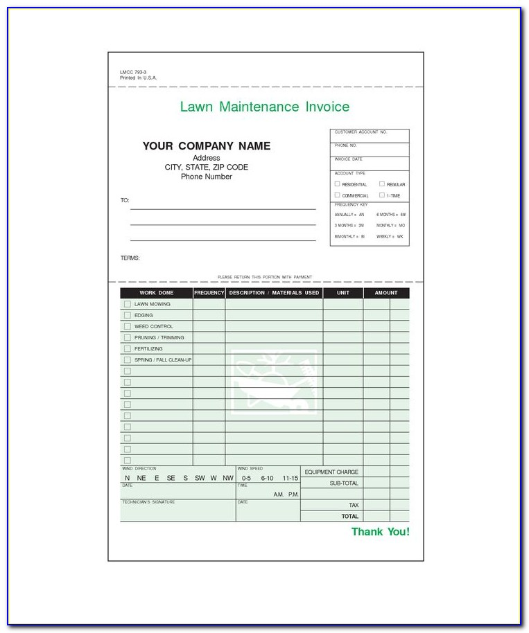 Lawn Service Invoice Template Free