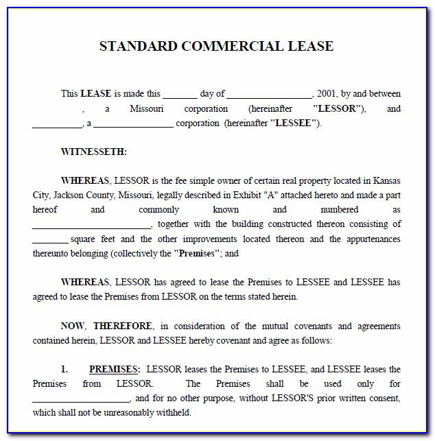 Lease Agreement For Commercial Property Template