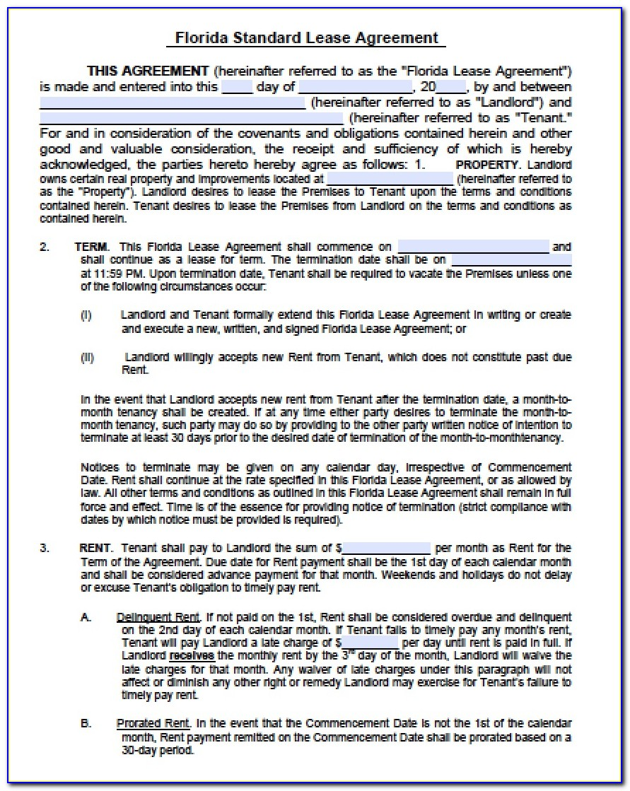 Lease Agreement Template Florida Residential