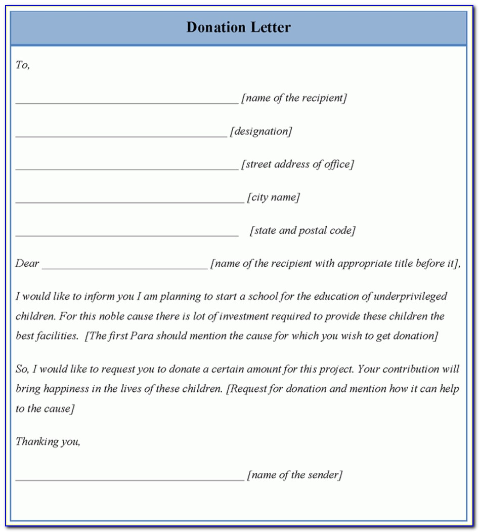 Letter For Donation Template