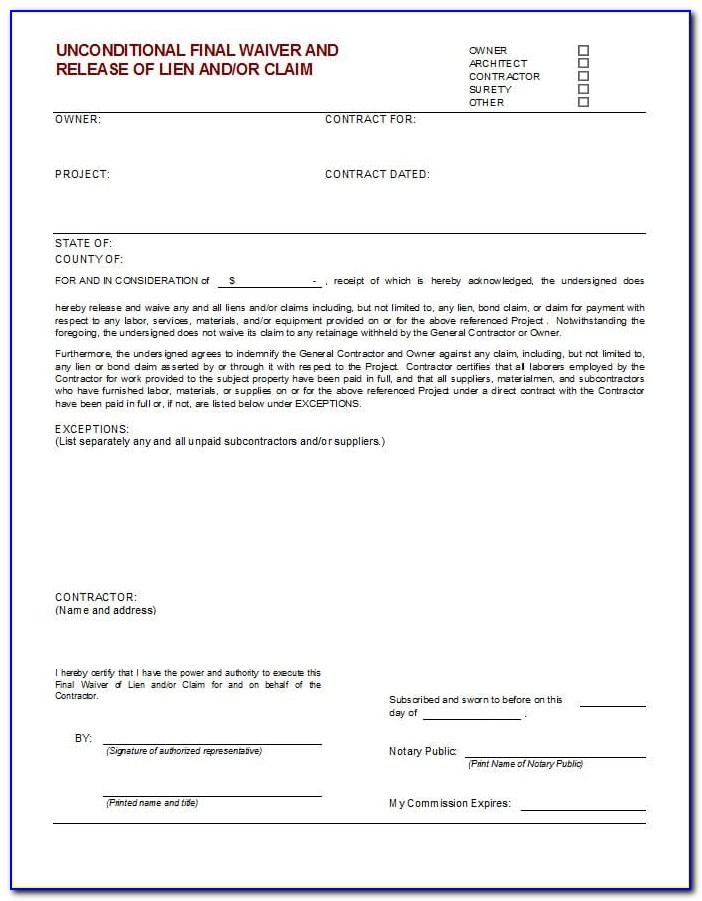 Lien Waiver Form Word