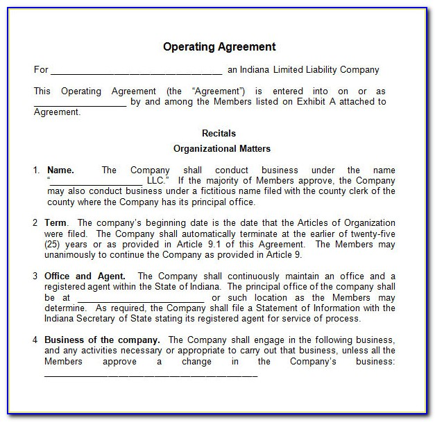 Llc S Corp Operating Agreement Template