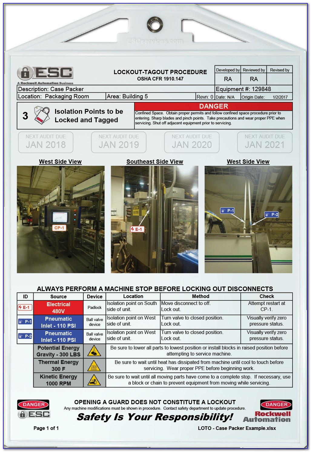 Machine Specific Lockout Tagout Template