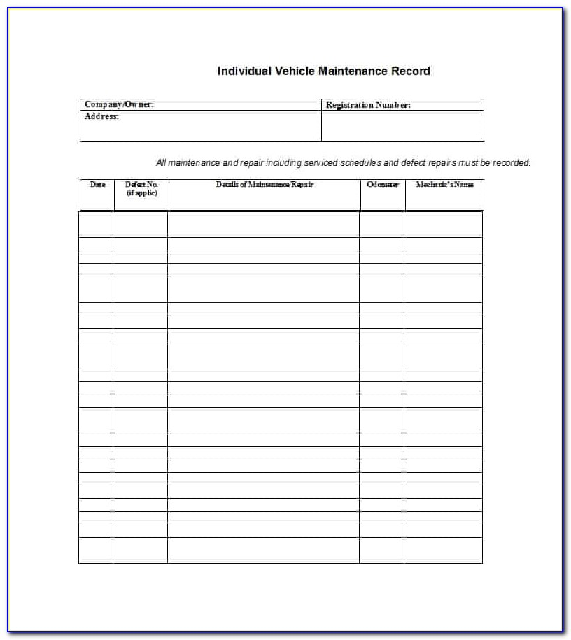 Maintenance Log Book Example