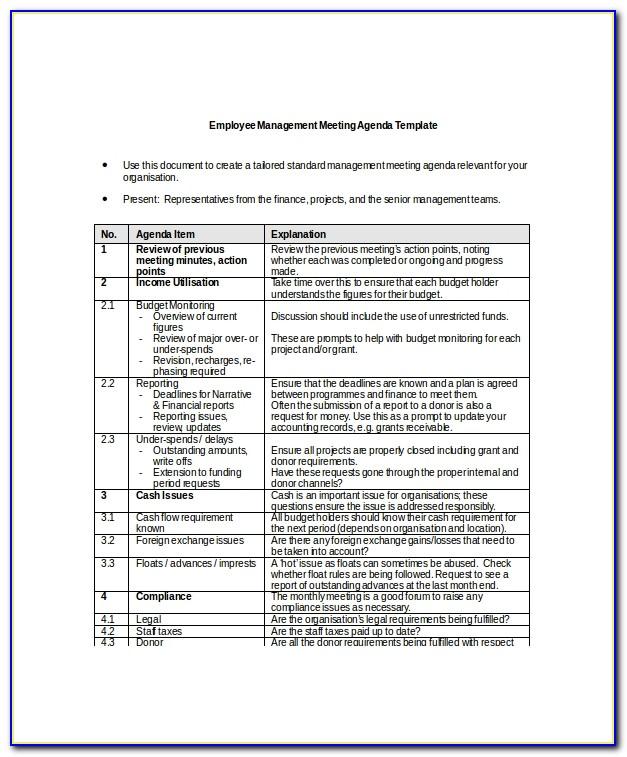 Management Meeting Agenda Template Free