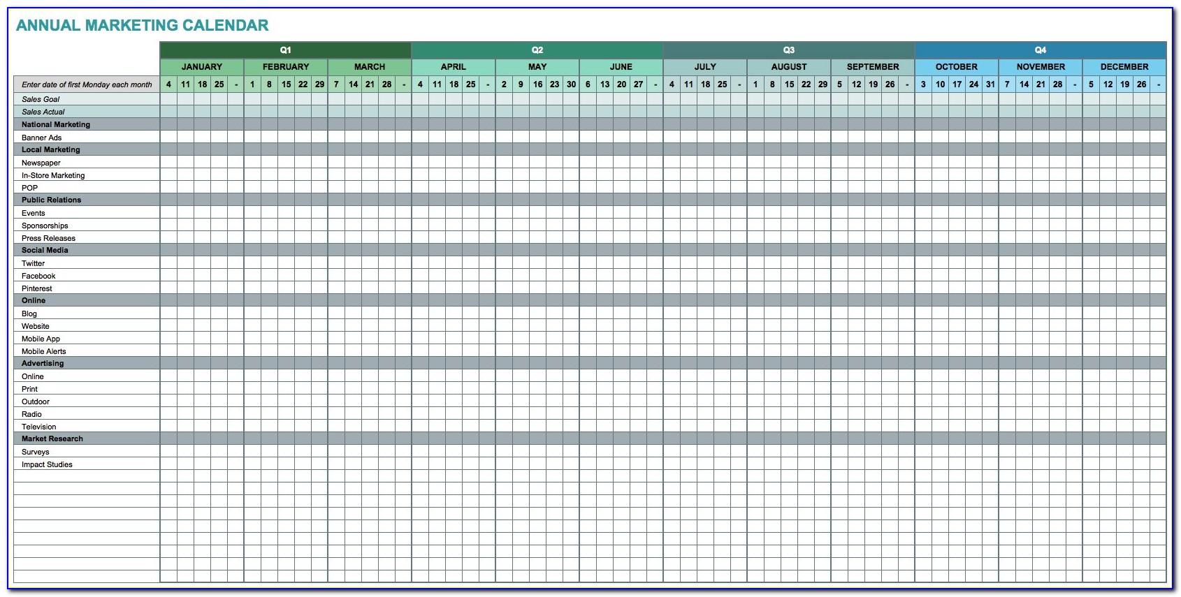 Marketing Calendar Template 2016 Excel