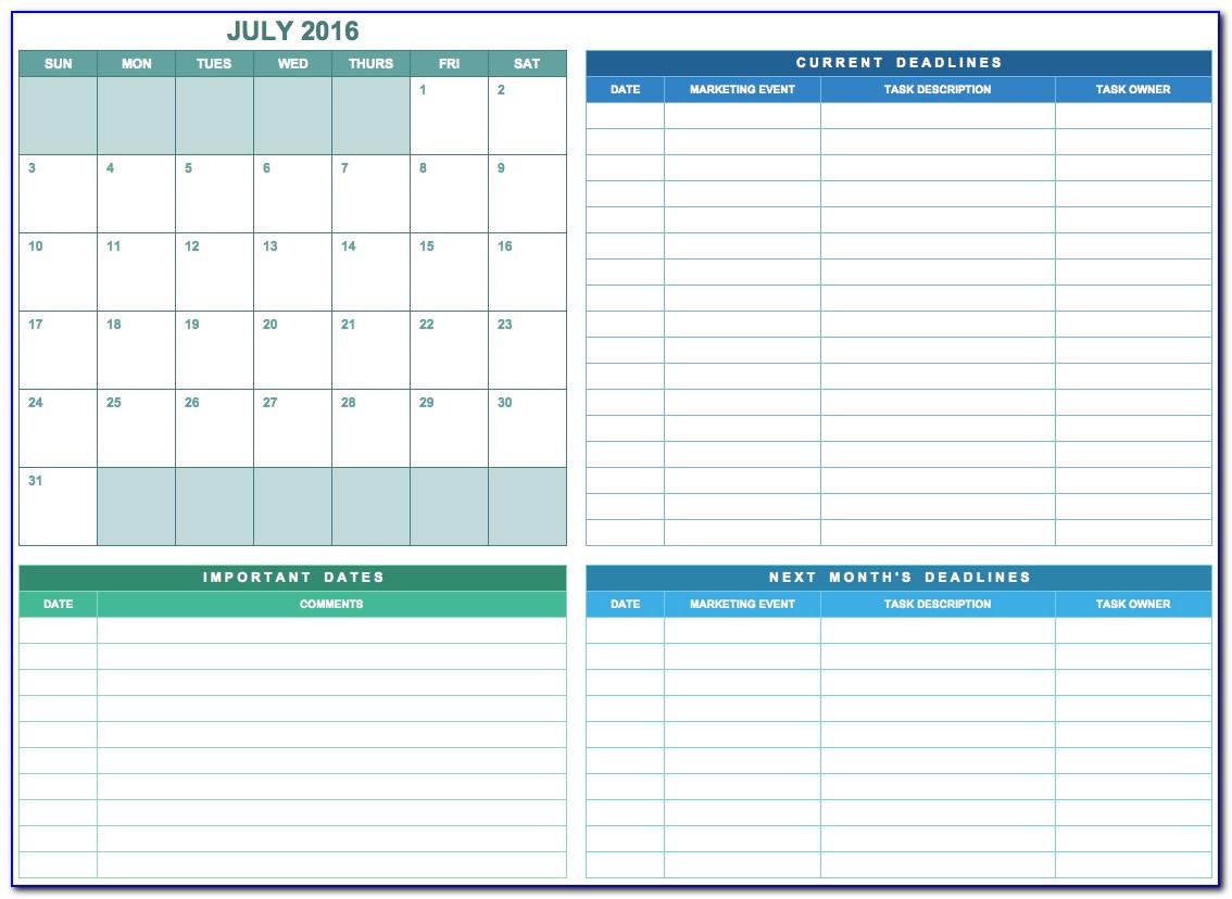 Marketing Calendar Template Excel 2018