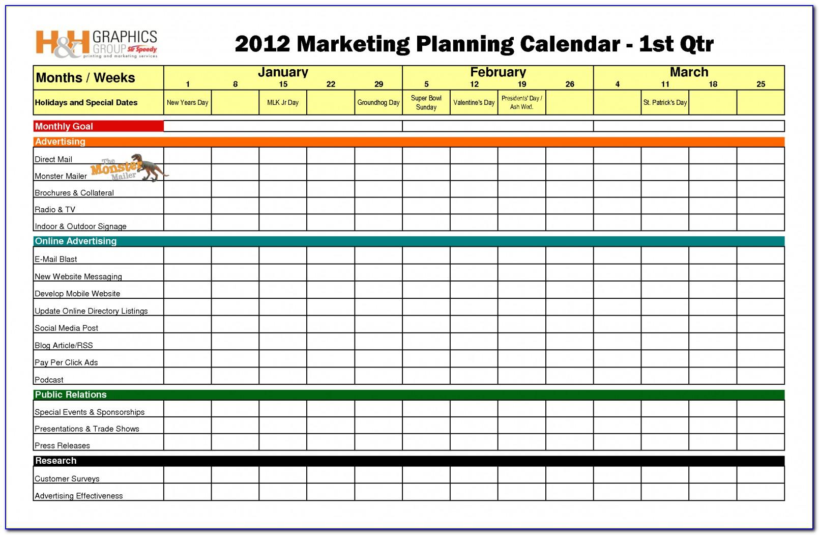 Marketing Calendar Template Excel 2019