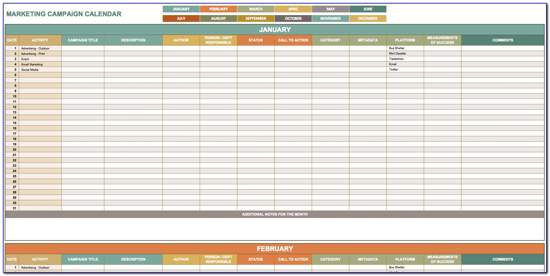 Marketing Calendar Template In Excel