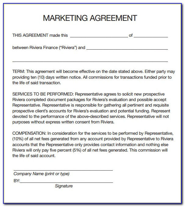 Marketing Contract Template Free