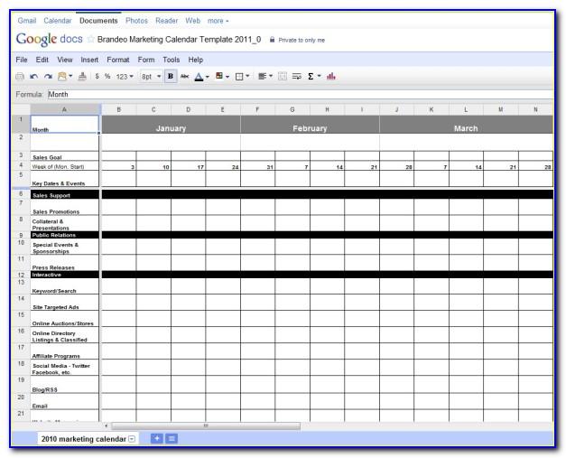 Marketing Plan Calendar Template Excel