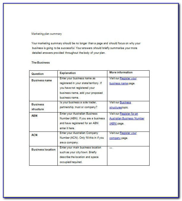 Marketing Plan Outline Template (word)
